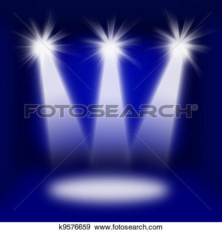 Clipart of Bright stage with spot lights k10069970.