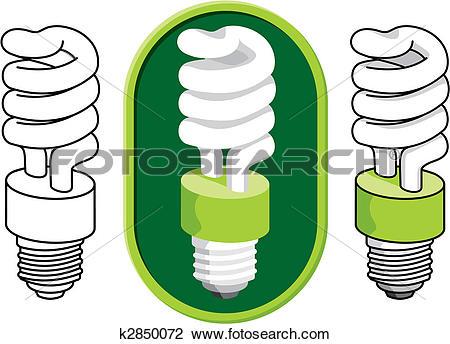 Clipart of Spiral compact fluorescent light bulb vector k2850072.