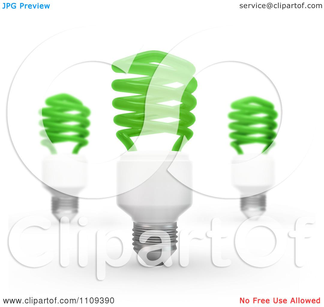 Clipart 3d Green Fluorescent Spiral Light Bulbs.