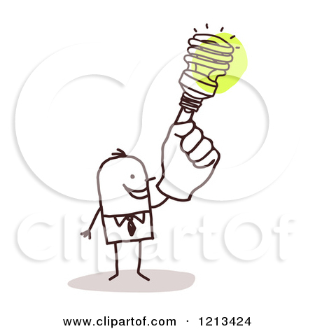 Clipart of a Creative Stick People Man with a Spiral Light Bulb.
