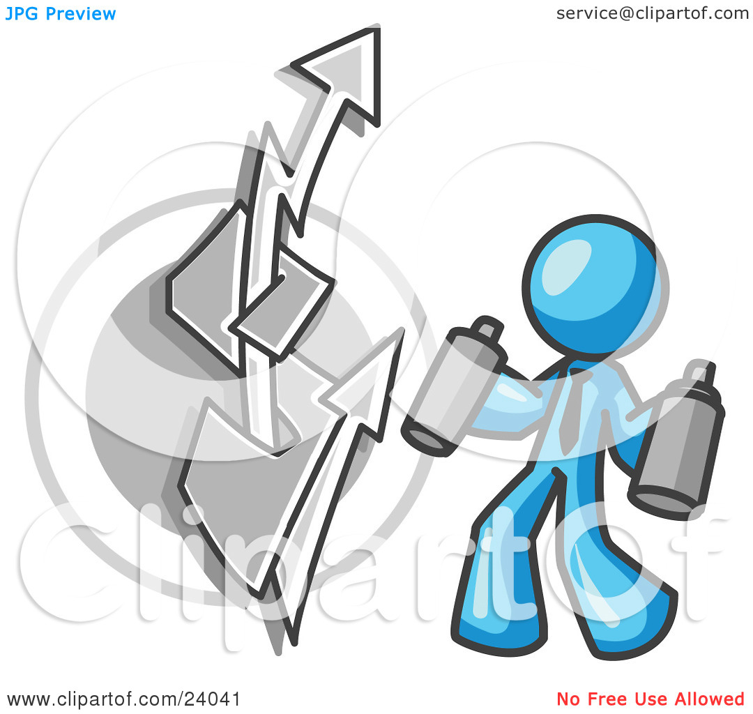Clipart Illustration of a Light Blue Business Man Spray Painting a.