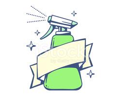 Vector Illustration of Green Spray Pistol With Ribbon on Light.