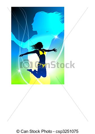 Clipart Vector of Sexy Woman Celebration with Light Streak.