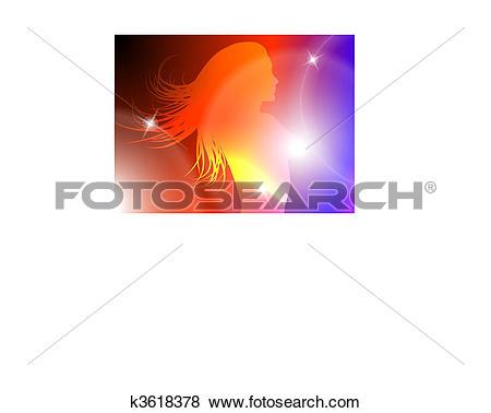 Clip Art of Sexy Woman Celebration with Light Streak k3618378.