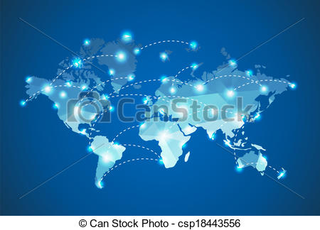 Clipart Vector of Polygonal World Map with spot lights effect.