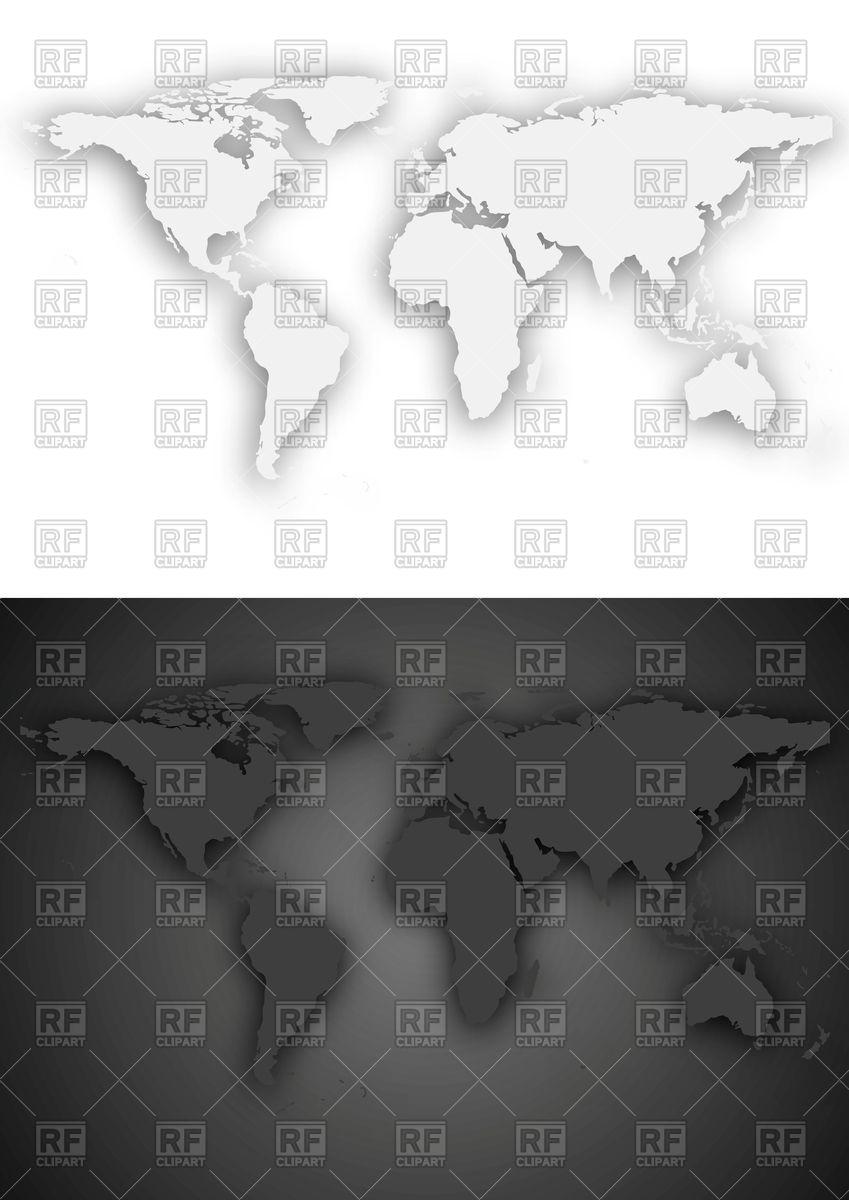 Dark and light grey world map design Vector Image #45796.