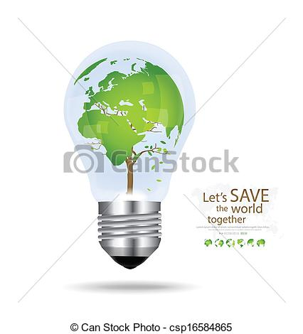 Clip Art Vector of Save the world, Light bulb with tree shaped.