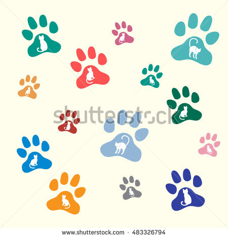 Illustration Seamless Texture Traces Cats Dogs Stock Vector.