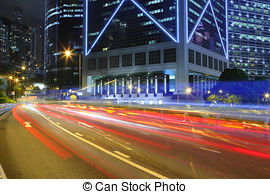 Stock Photo of light traces from moving cars at night.