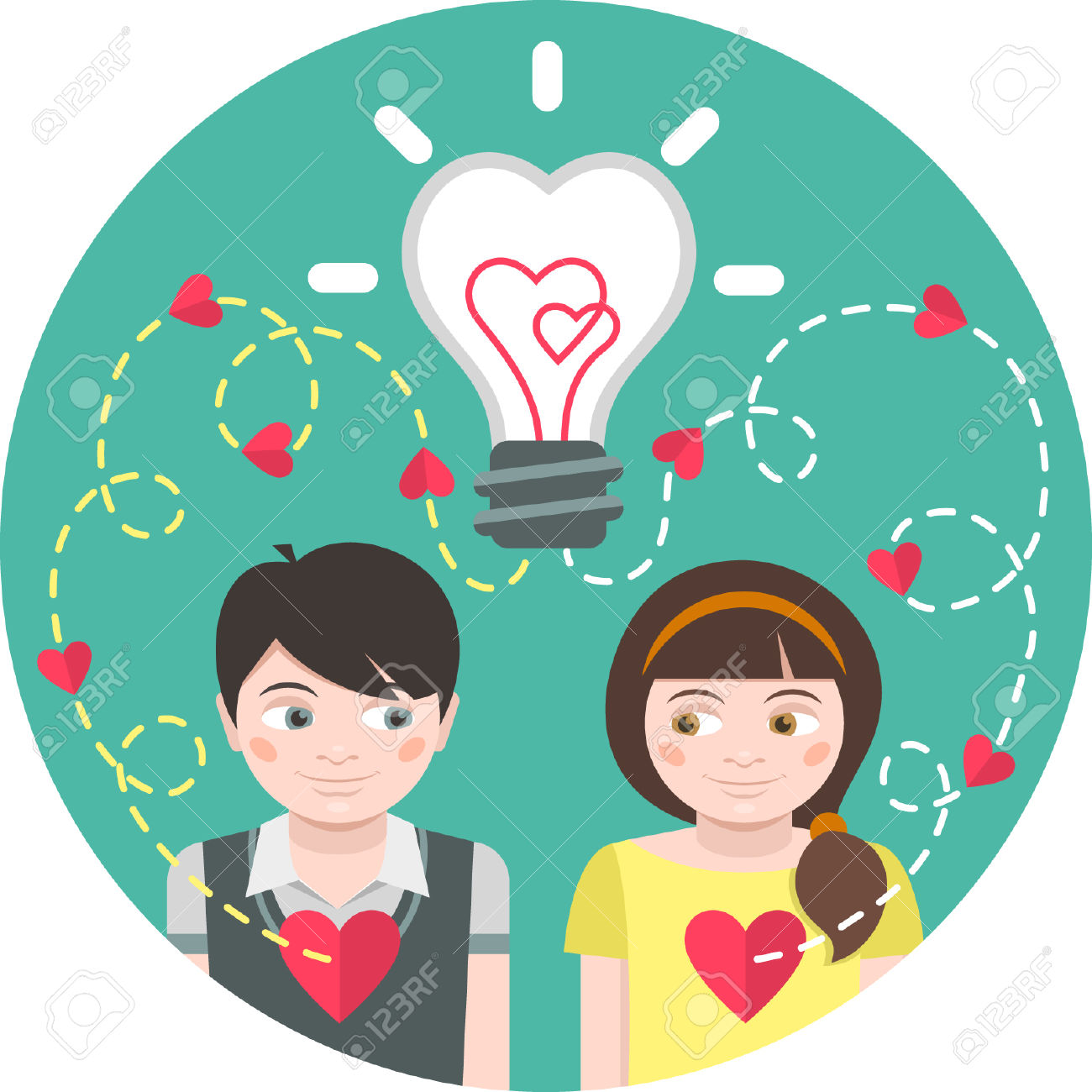 Round Illustration Of Love At First Sight With A Light Bulb And.