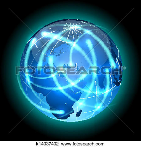 Clipart of Globe with light traces rotating around. k14037402.