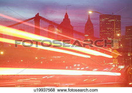Pictures of USA, New York State, New York City, light trail.