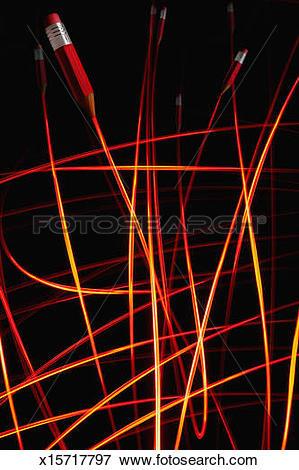 Picture of Fibre optic pencils draw light trails onto black.