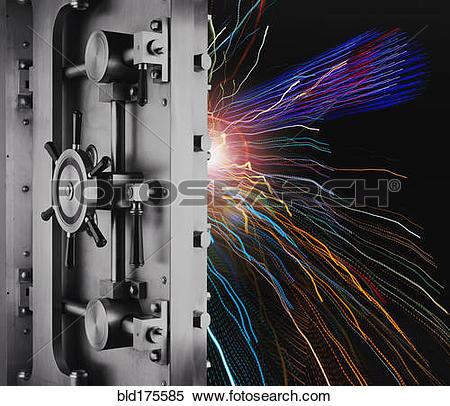 Stock Image of Digital light trails in unlocked safe bld175585.