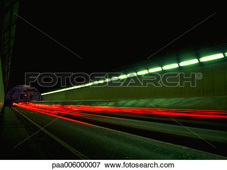 Picture of Light trails at night, blurry. paa006000007.