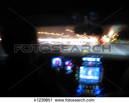 Clipart of Night Driving Light Trails k1239851.
