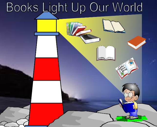 Clipart images of the world and books.