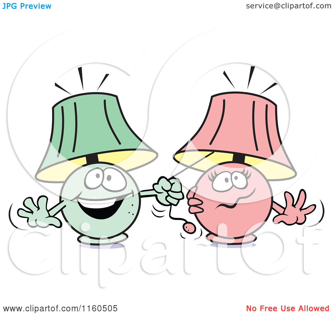 Cartoon of a Green Lamp Mascot Pulling on a Pink Lamps String You.