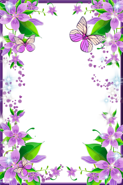 Light Purple Flowers and Butterflies Transparent PNG Photo Frame.