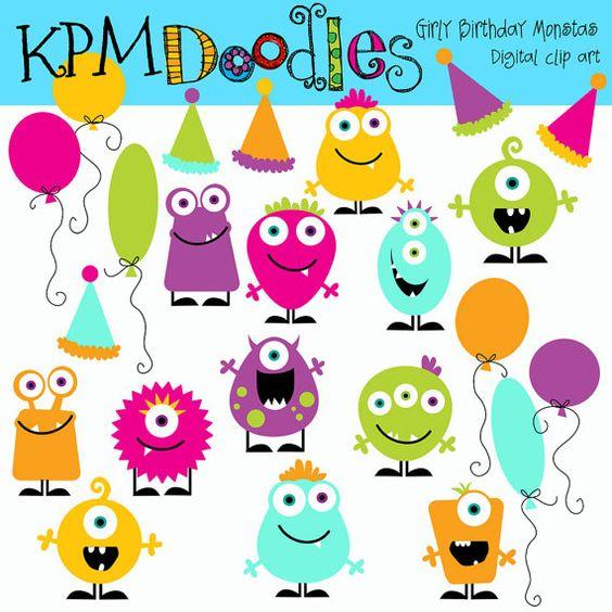 KPM Girly Birthday Monsters digital clipart.