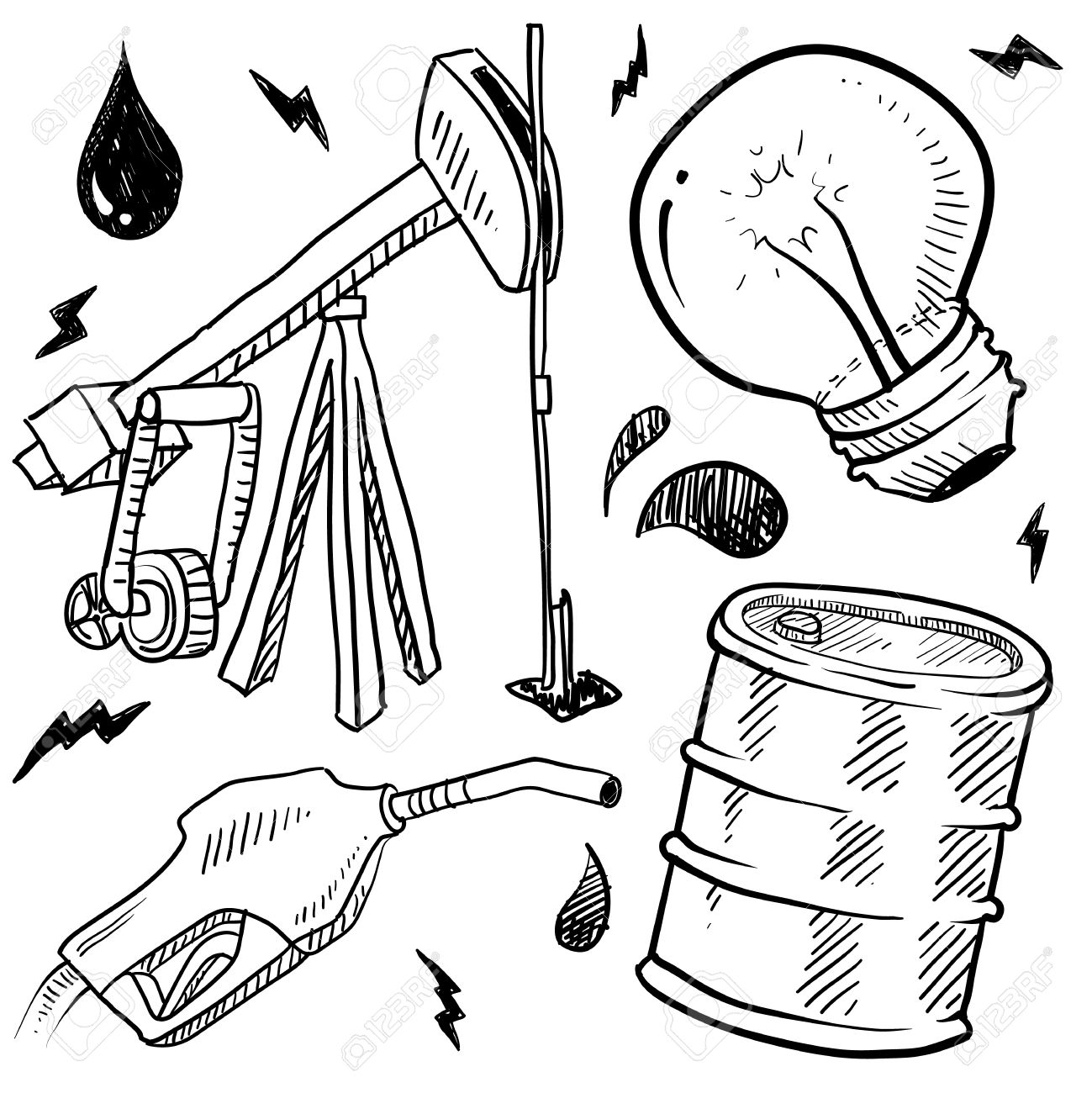 Doodle Style Oil And Gas Energy Sketch In Vector Format Set.