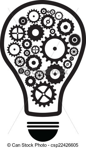 Vector Clipart of Idea Light Bulb With Gears And Cog Wheels.