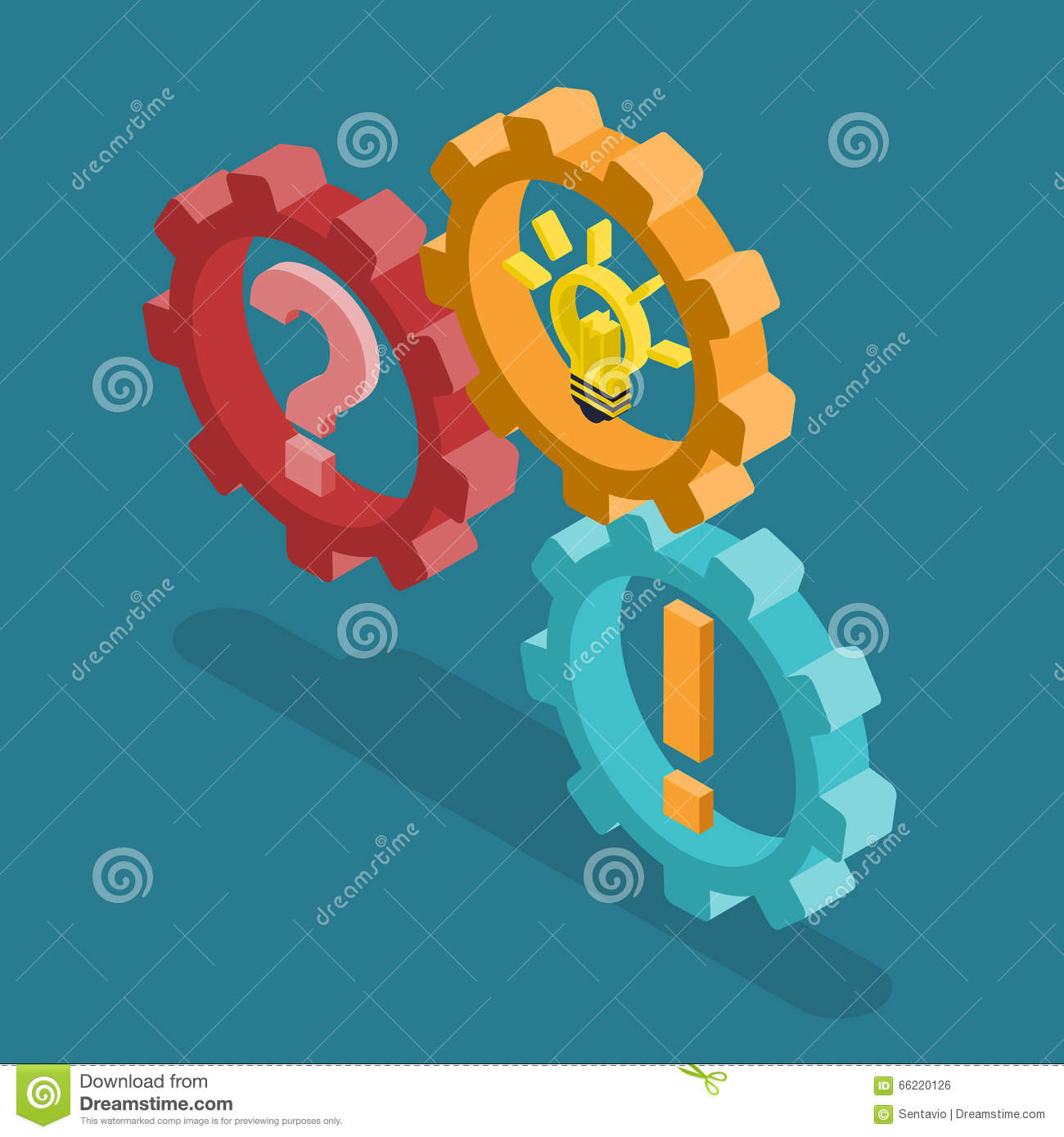 Cog Wheels Question Exclamation Light Bulb Flat Isometric Vector.