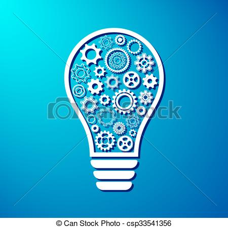 Clipart Vector of Light bulb with gear wheels.
