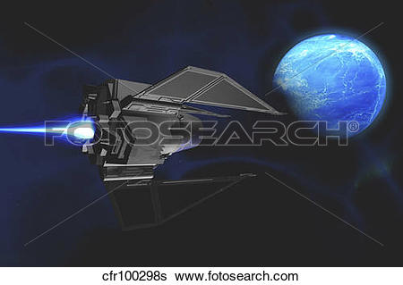 Stock Illustration of A small spacecraft from Earth reaches a.