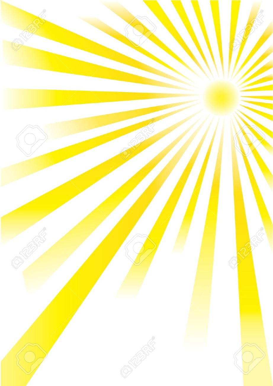 Yellow Sunrays Of Different Lengths On White Background Royalty.