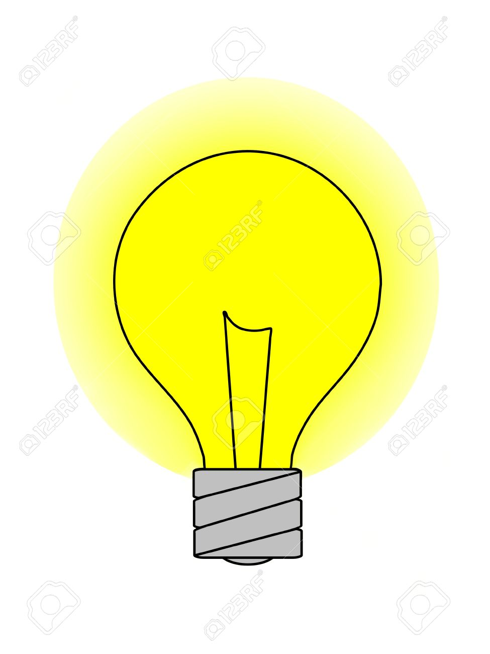 A Graphic Of A Light Bulb With A Yellow Glow. Isolated On A Solid.