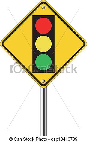 Vector Clipart of traffic light over yellow sign on white.