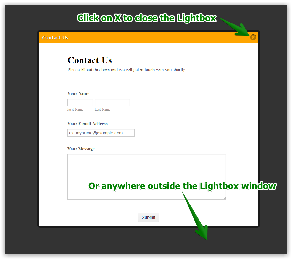 How can I create a close button for lightbox.