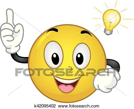 Smiley Idea Light Bulb Moment Clipart.