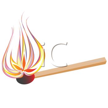 Royalty Free Clip Art Image: Cartoon of a Lighted Match with Flames.
