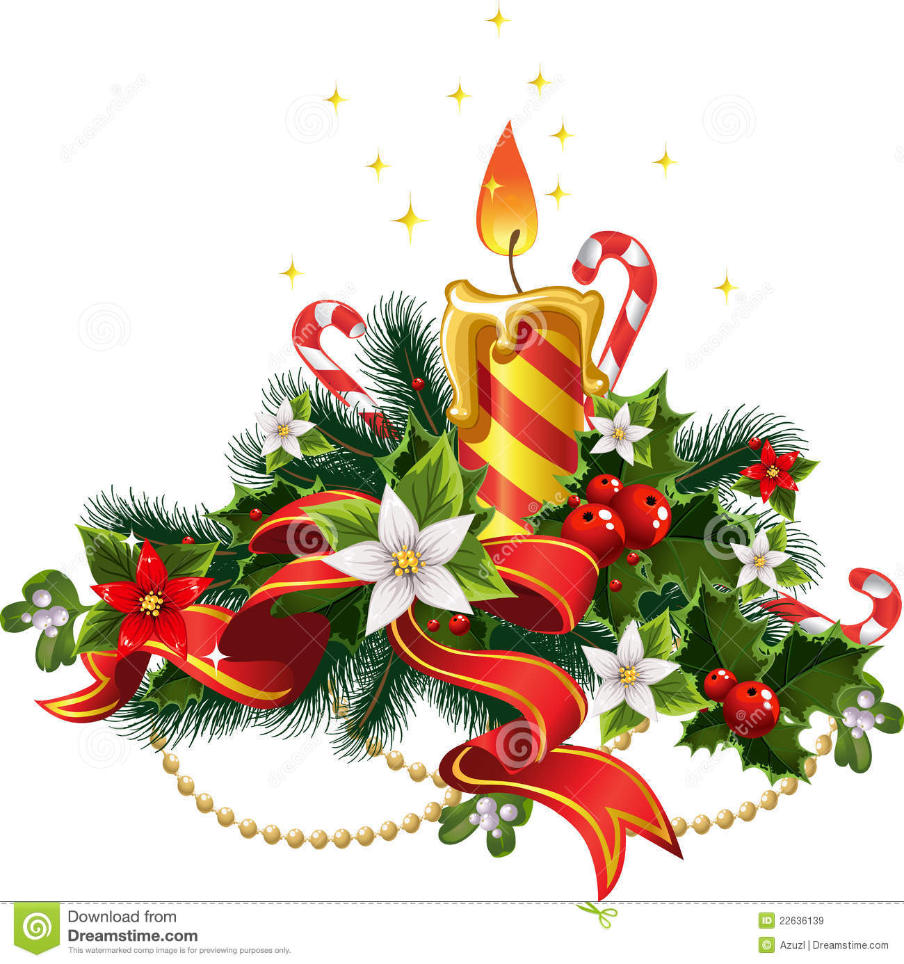 Christmas Candle Light With Decorations Royalty Free Stock Images.