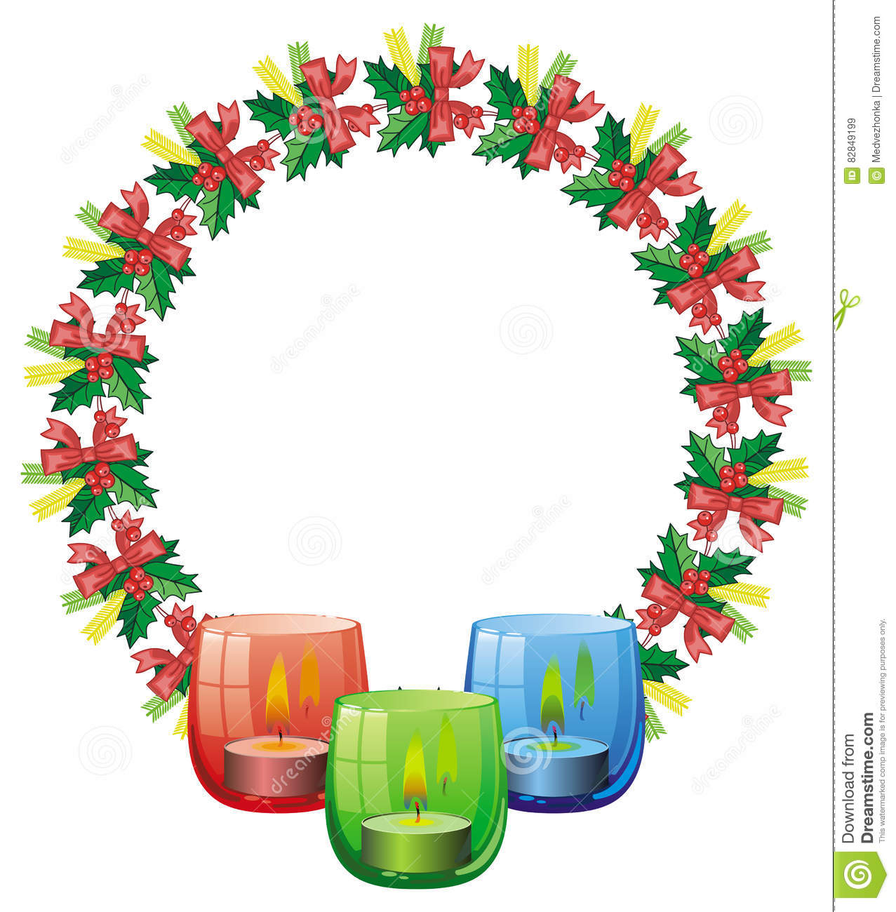Round Frame In Shape Of Christmas Garland And Lighted Candle In.