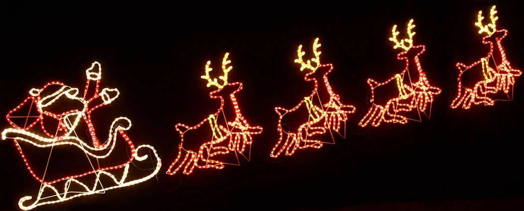 Santa And Reindeer Outdoor Lights.