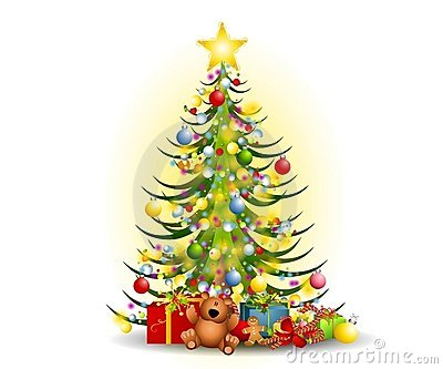 Christmas Tree Gifts Clip Art Stock Image.