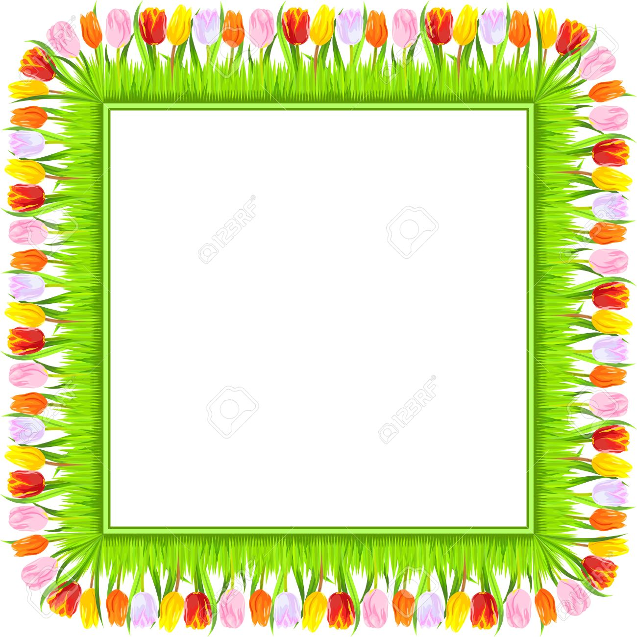 Square Frame Of Colorful Spring Tulips Red, Yellow, Pink, Orange.