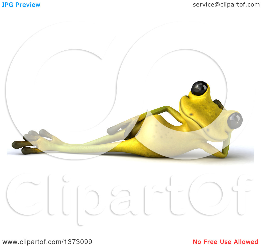 Clipart of a 3d Light Green Frog Resting on His Side, on a White.