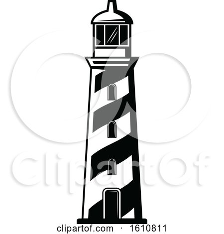 Clipart of a Black and White Lighthouse.