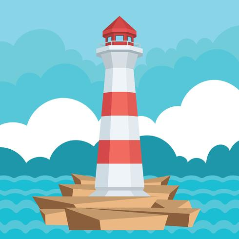 Cove with Lighthouse Vector Illustration.