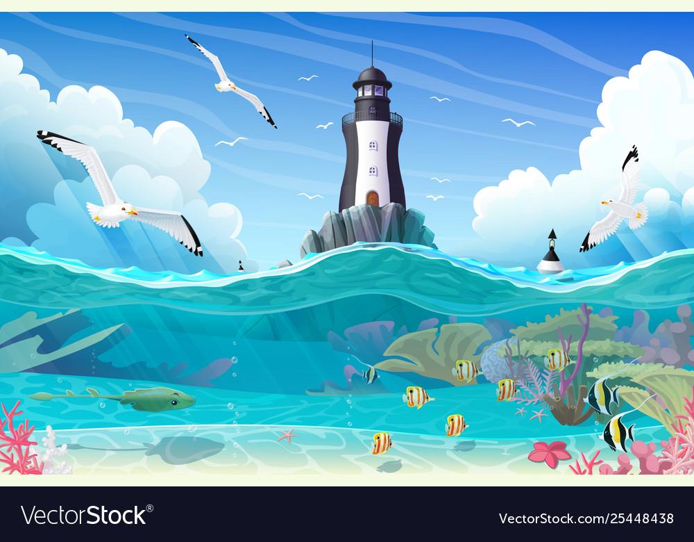 Cartoon lighthouse sea clipart.