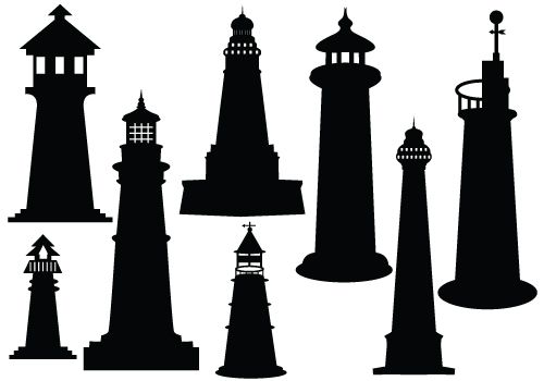 Lighthouse Silhouette Vector.