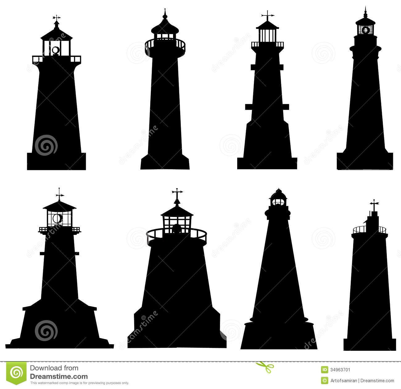 Lighthouse Silhouette Clipart.