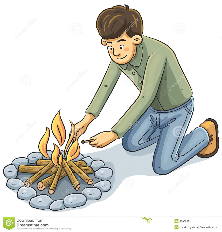 lighting a fire clipart #19