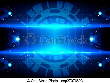 Vector Illustration of abstract circle hex and light blue effect.