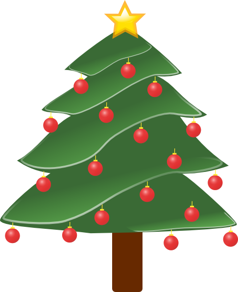 Lightly Decorated Evergreen clip art Free Vector / 4Vector.