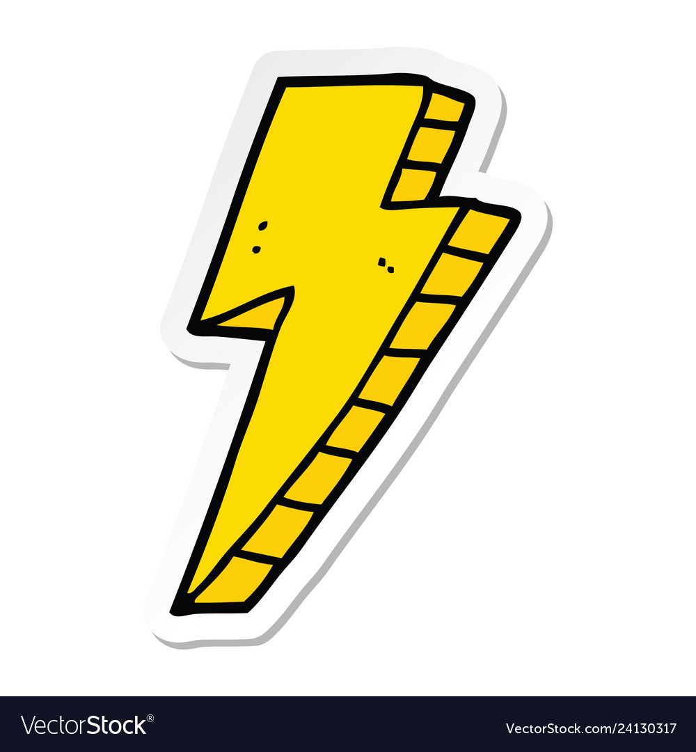 Sticker of a cartoon lightning bolt.